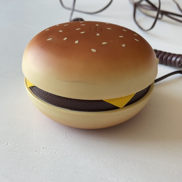 Vintage hamburger push button flip phone